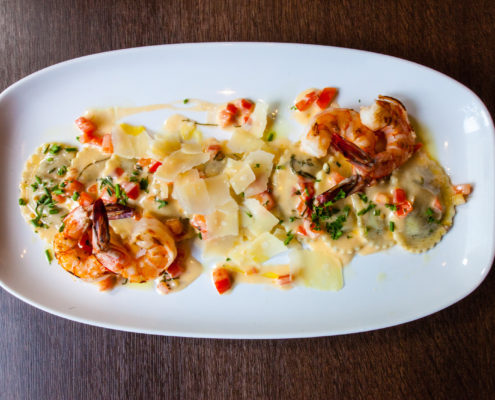 Wild-Mushroom-Ravioli-with-Prawns---top-view