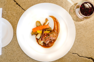 MOREL DUSTED VEAL LOIN TOURNEDOS- crispy prosciutto, sunchokes, rainbow carrots, Road 13 GSM veal jus